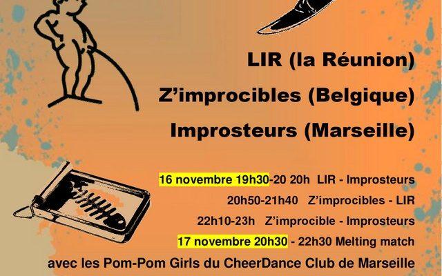 Melting Impro, un tournoi Belgique Réunion Marseille, les 16-17 novembre 2018